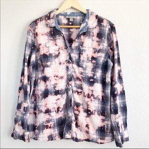 Bleached Distressed Tie Dye Pink Blue Flannel Top